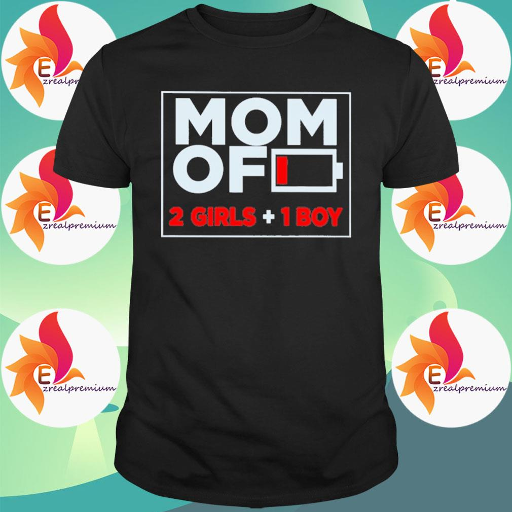 Official Mom of 2 Girls and 1 Boy shirt