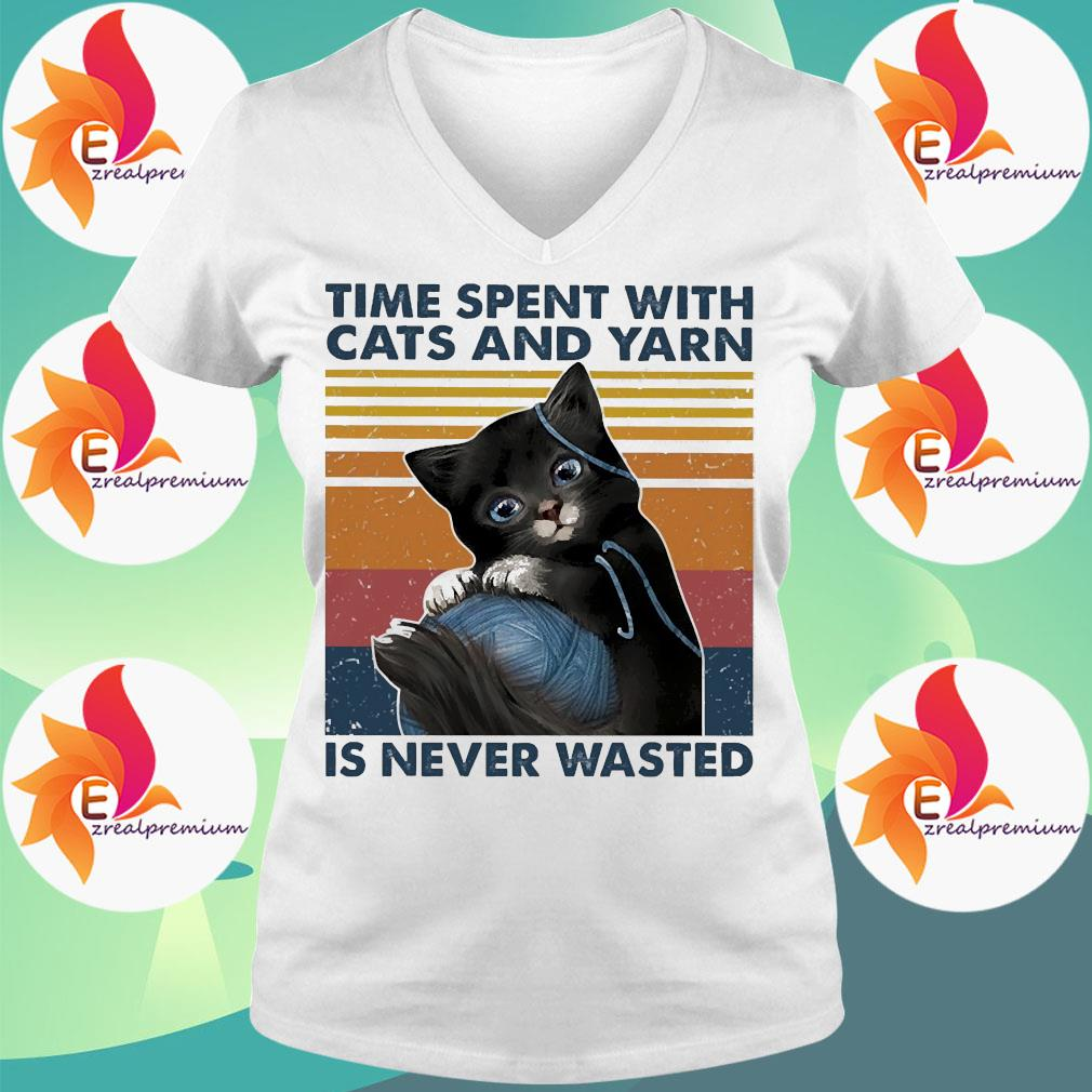 Black Cats wool roll time spent with and yarn Is never wasted vintage s Ladytee