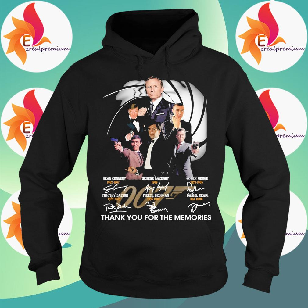 007 Sean Connery George Lazenby Roger Moore Timothy Dalton Pierce Brosnan Daniel Craig thank You for the memories signatures s Hoodie