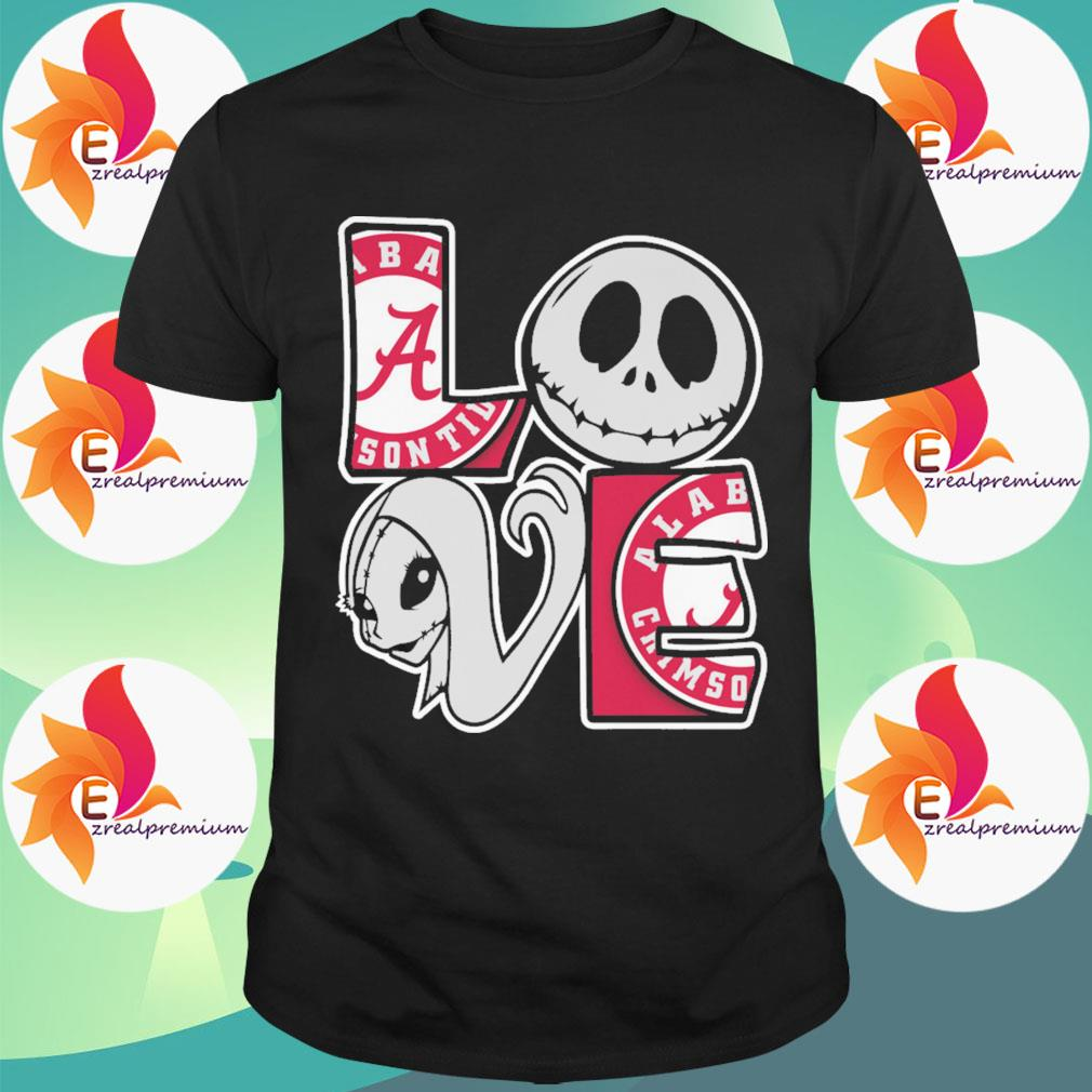 Jack Skellington and Sally love Alabama Crimson Tide shirt