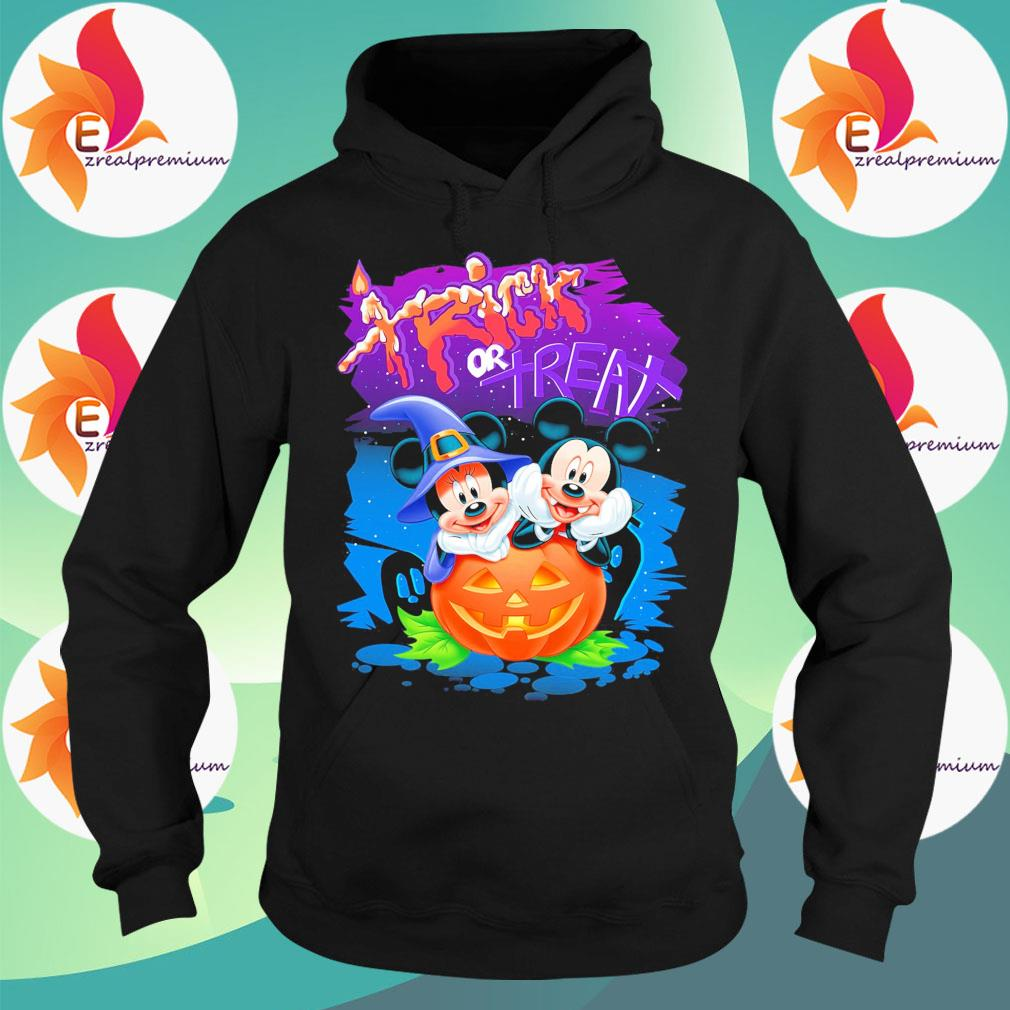 Mickey and Minnie mouse Pumpkin Trick or Treat happy Halloween s Hoodie